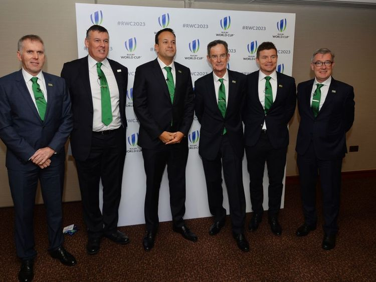 Leo Varadkar with his team - including Brian O'Driscoll -  for Ireland's Rugby World Cup bid