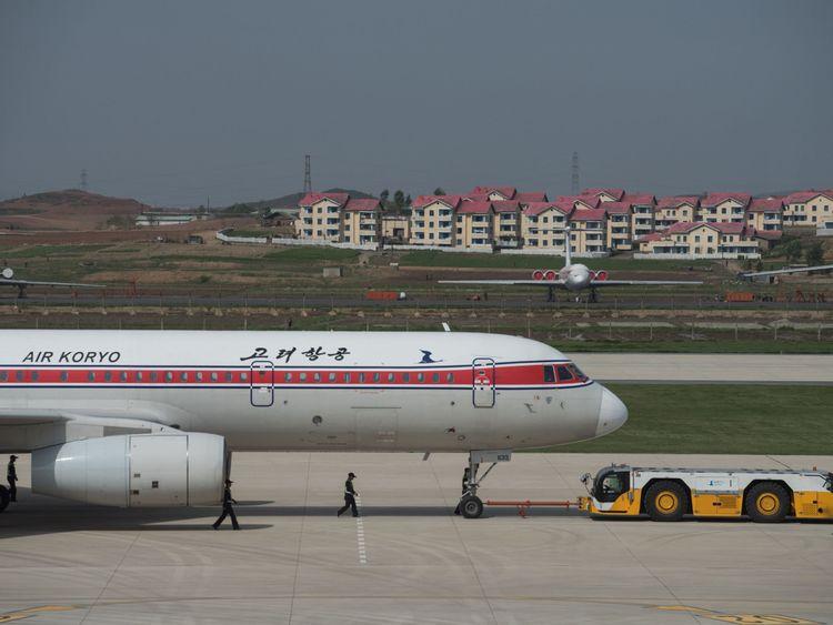 An aircraft with North Korea's flag carrier Air Koryo