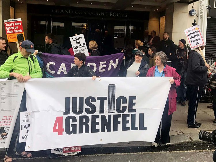 Protesters outside the Grenfell Tower public inquiry in central London