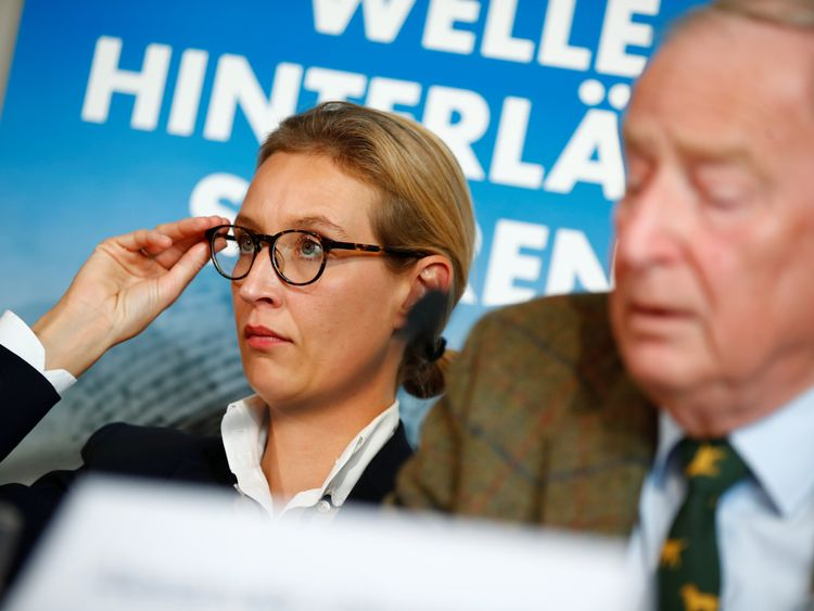 Co-lead AFD candidates Alexander Gauland and Alice Weidel