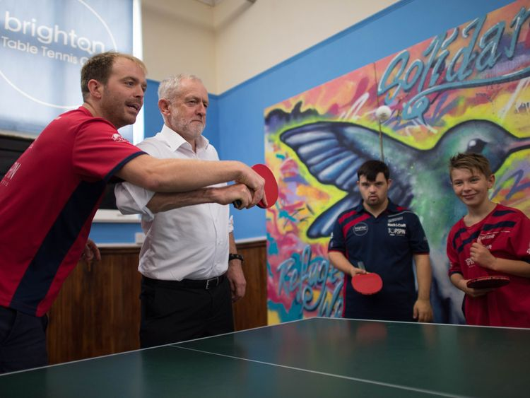 Jeremy Corbyn visits the Brighton Table Tennis Club