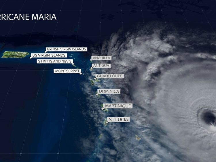 Hurricane Maria and the islands in its path
