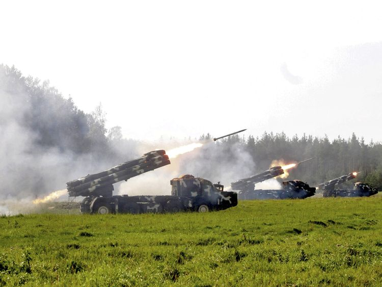 A multiple rocket launcher system fires during the Zapad-2017 war games
