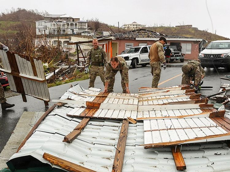 Royal Marines have been helping BVI residents in the aftermath of Hurricane Irma. Pic: MoD