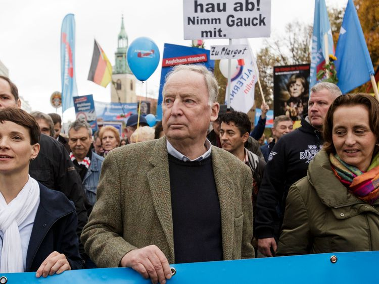 The AfD's Frauke Petry (left) and Alexander Gauland lead a rally