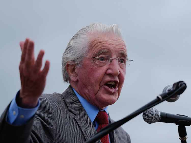 Veteran MP and former miner Dennis Skinner addresses gathered crowds during the 132nd Durham Miners Gala on July 9, 2016 in Durham, England
