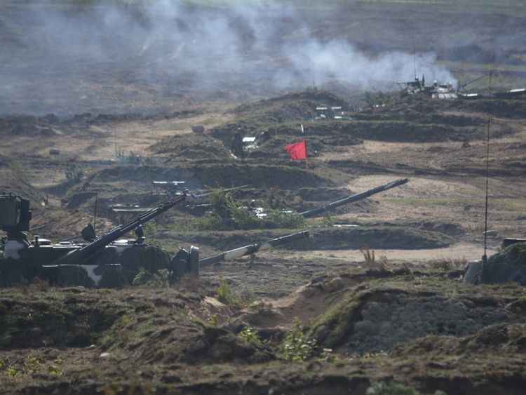 A view shows turrets of armoured vehicles during the Zapad-2017 war games