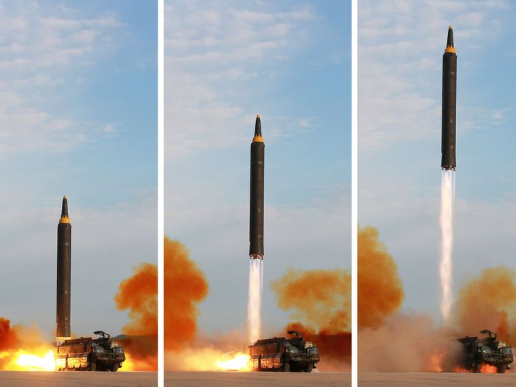 The launch of a Hwasong-12 missile in this undated photo released by North Korea's Korean Central News Agency (KCNA)