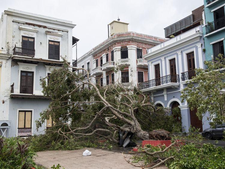 Damage at Plaza de Colon in Old San Juan
