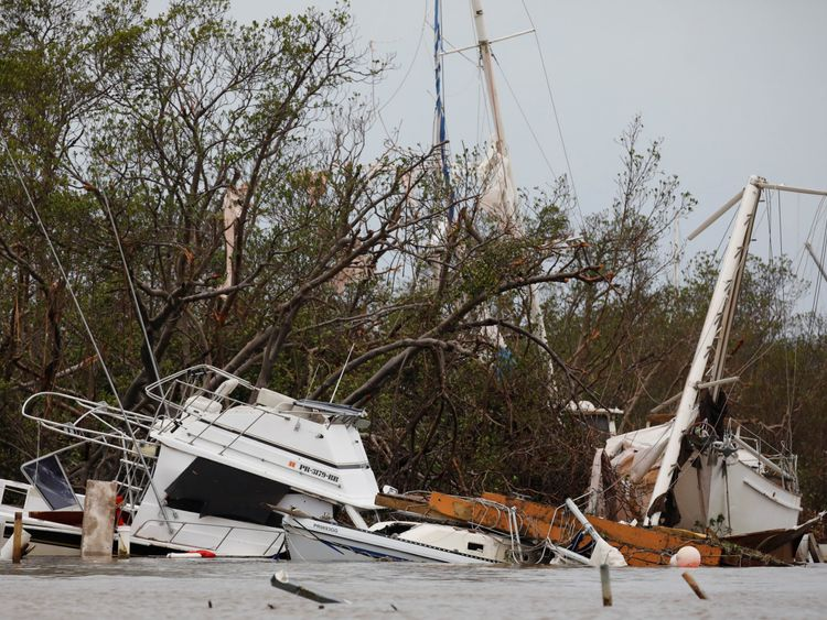 Damaged boats in Salinas, Puerto Rico