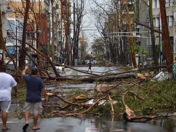Men walk among damaged trees in San Juan  after the passage of Hurricane Maria