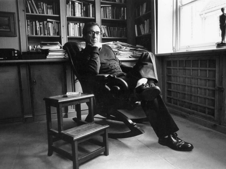 Playwright Harold Pinter in his study circa 1970