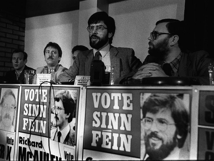 May 1983: Adams launches Sinn Fein's party election manifesto at a press conference in Belfast