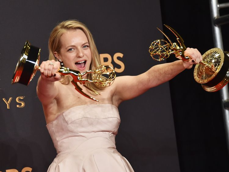 Actor Elisabeth Moss, winner of Outstanding Lead Actress in a Drama Series for The Handmaid's Tale