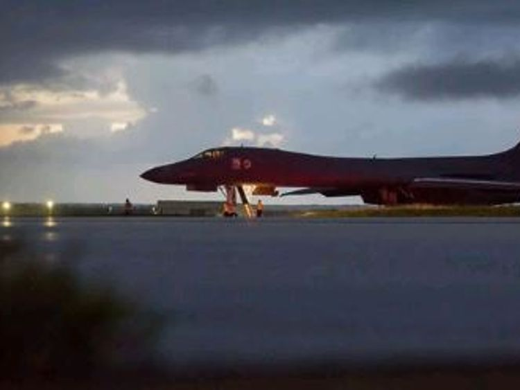 A B-1B Lancer that flew over north of the Demilitarized Zone (DMZ)