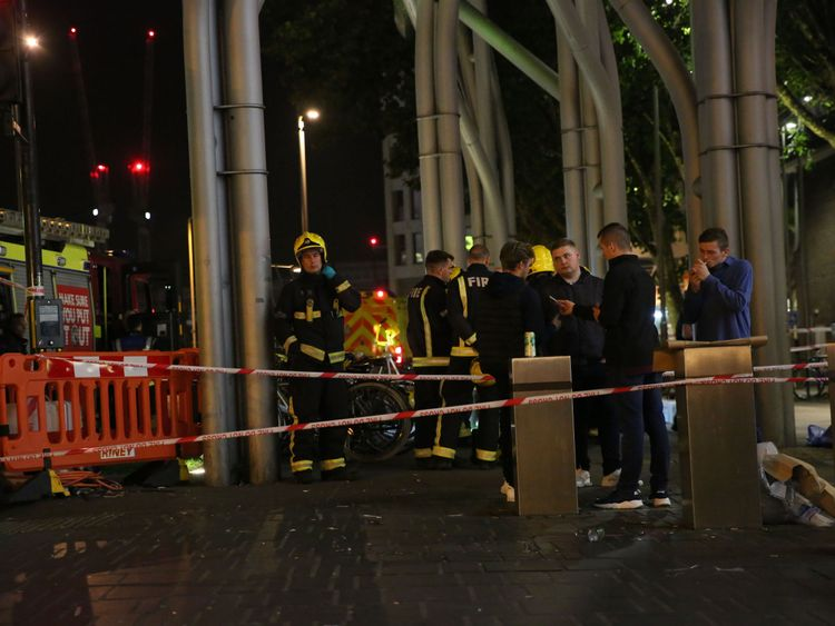 Emergency services at the Stratford Centre following a suspected noxious substance attack