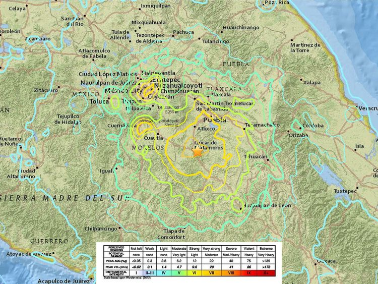 A graphic showing the intensity of the earthquake in different areas of Mexico