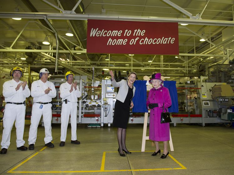 The Queen visits the Mars factory in 2013