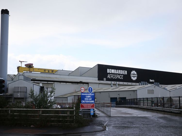 A general view of the Bombardier Aerospace plant in Belfast Northern Ireland