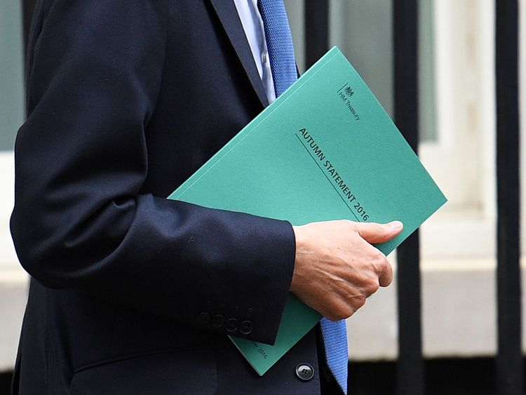 LONDON, ENGLAND - NOVEMBER 23: Chancellor of the Exchequer, Philip Hammond leaves 11 Downing Street on November 23, 2016 in London, England.The Autumn Statement is one of two budget statements the Treasury makes to Parliament each year. Britain's public finances improved this October from the same month last year, although the Chancellor will still miss his deficit target of £55.5bn by the end of the year (Photo by Leon Neal/Getty Images)