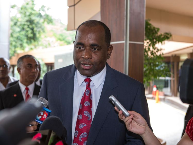 Prime Minister of the Dominica Roosevelt Skerrit is seen before a meeting with Chinese President Xi Jinping in Port of Spain on June 2, 2013. AFP PHOTO/Frederic Dubray / AFP / - (Photo credit should read -/AFP/Getty Images)