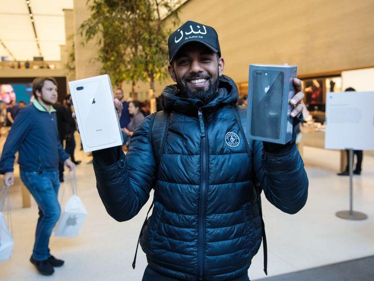 LONDON, ENGLAND - SEPTEMBER 22: First in the queue Salam Bin Mohammed, 24, poses with his new iPhone 8s outside Apple Regent Street during the launch of the iPhone 8 on September 22, 2017 in London, England. Apple have today launched their new mobile phone the iPhone 8 and 8 plus in the UK today ahead of the iPhone X's release in November. (Photo by Jack Taylor/Getty Images)
