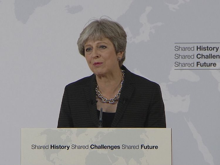 Theresa May addresses the issue of Brexit in a speech in Florence