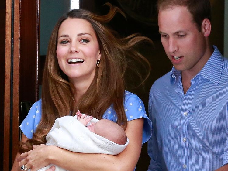 Kate and William introducing baby George to the world in 2013
