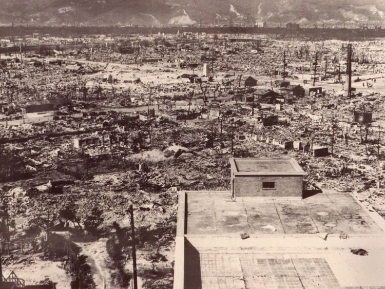 The devastation in Hiroshima after the first atomic bomb was dropped by a US Air Force plane