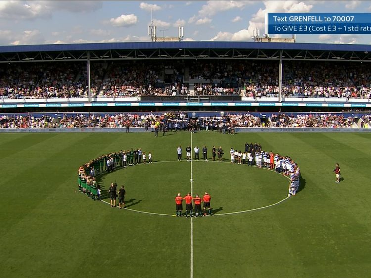 The stadium falls silent before the match begins. Pic: Game4Grenfell/Sky One