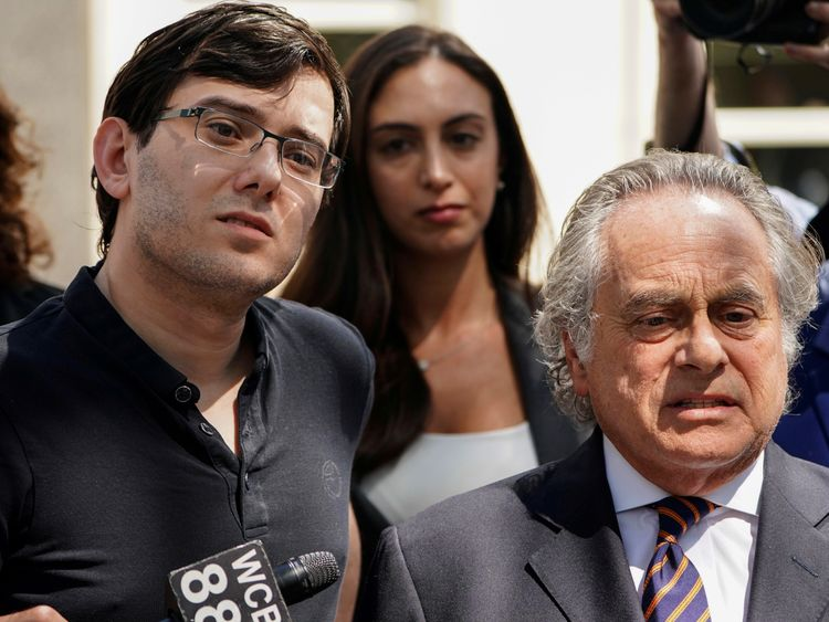 Martin Shkreli stands with his attorney after being convicted of securities fraud in August