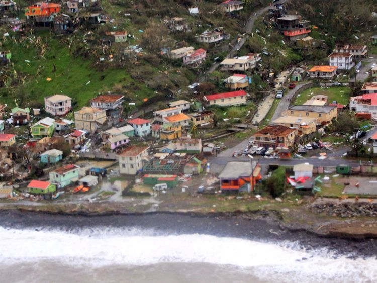 Damaged homes from Hurricane Maria are shown in this aerial photo over the island of Dominica