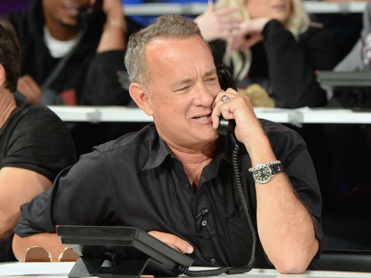 UNIVERSAL CITY, CA - SEPTEMBER 12: In this handout photo provided by Hand in Hand, Tom Hanks attends Hand in Hand: A Benefit for Hurricane Relief at Universal Studios AMC on September 12, 2017 in Universal City, California. (Photo by Kevin Mazur/Hand in Hand/Getty Images)