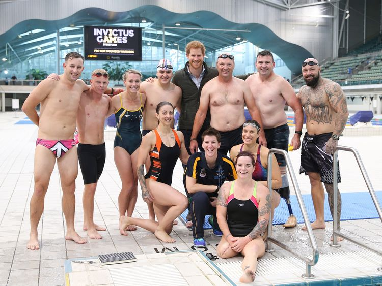 Prince Harry meets Invictus Games competitors in Sydney at the launch of next year's event