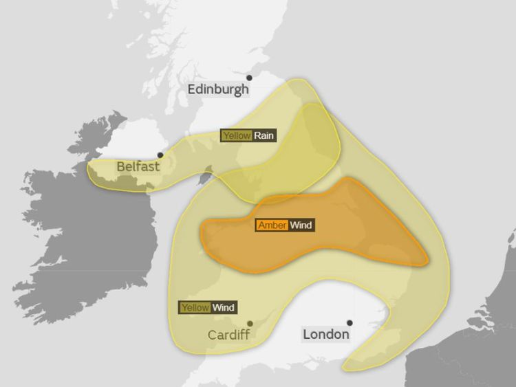 Yellow and amber weather warnings have been issued. Pic: Met Office