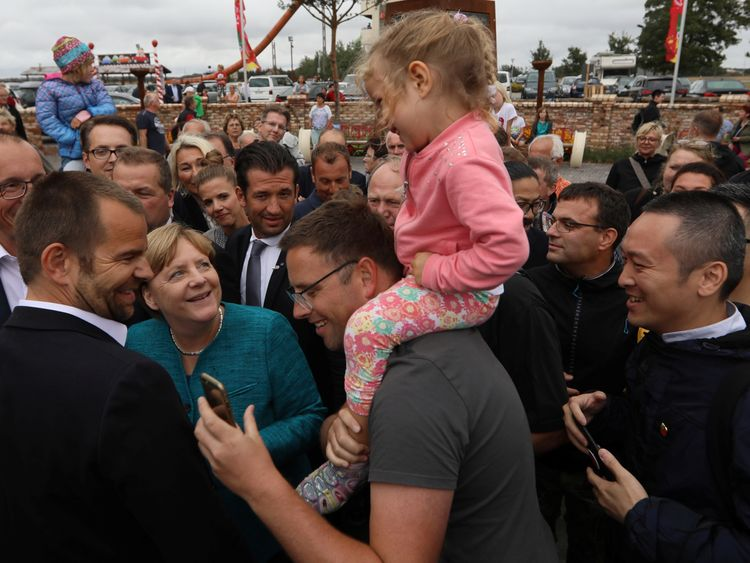 German Chancellor Angela Merkel on the campaign trail