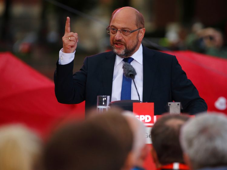 Martin Schulz, the former president of the European Parliament, is seen as Mrs Merkel's main challenger