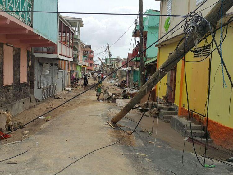 Damage caused by Hurricane Maria in Roseau, Dominica