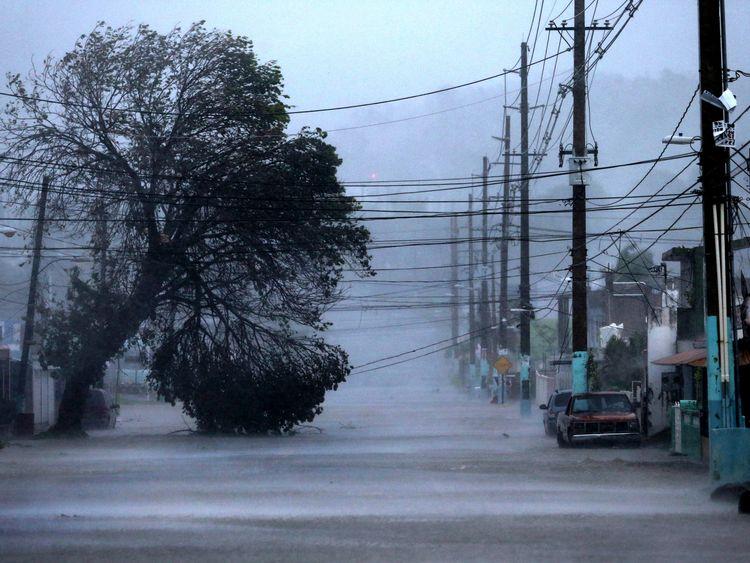 A flooded street in Fajardo, Puerto Rico
