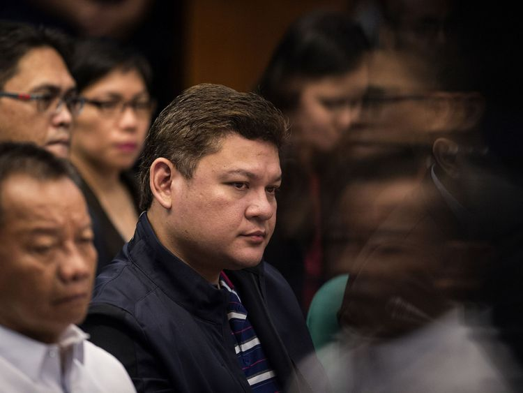 Davao City Vice Mayor Paolo Duterte (C), at a senate hearing in Manila on 7 September 2017