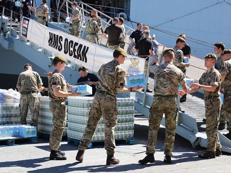 HMS Ocean is loaded with supplies for its mission in the Caribbean. Pic: MoD