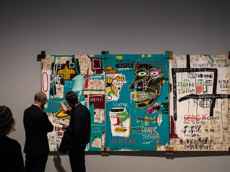 A Basquiat work entitled Ishtar on show at the Barbican