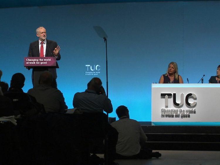 Labour leader Jeremy Corbyn addressing delegates in Brighton