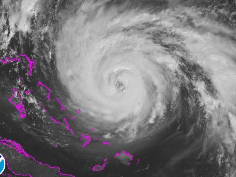 A satellite image of Hurricane Maria as it rolled northwest next to the Turks and Caicos islands