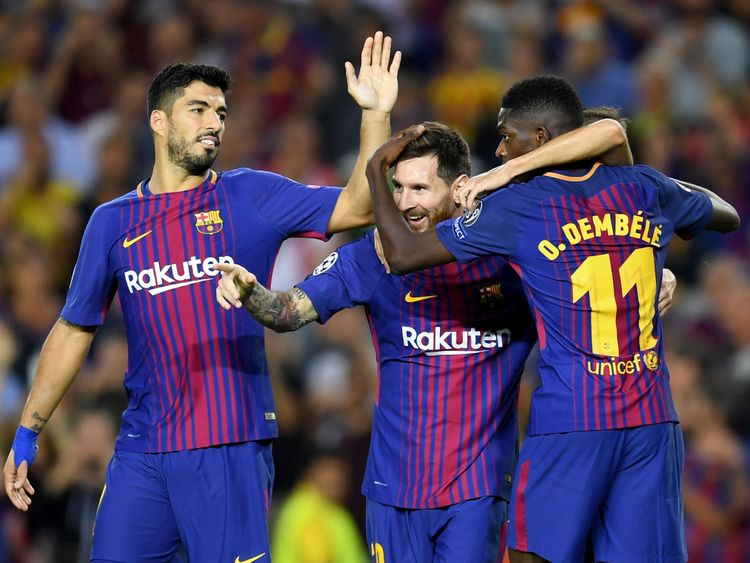 Lionel Messi of Barcelona celebrates scoring his side's third goal v Juventus with Ousmane Dembele and Luis Suarez, UEFA Champions League