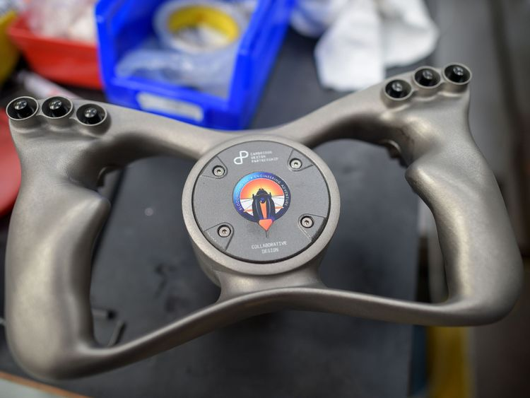 Bloodhound boasts a bespoke 3D printed titanium steering wheel