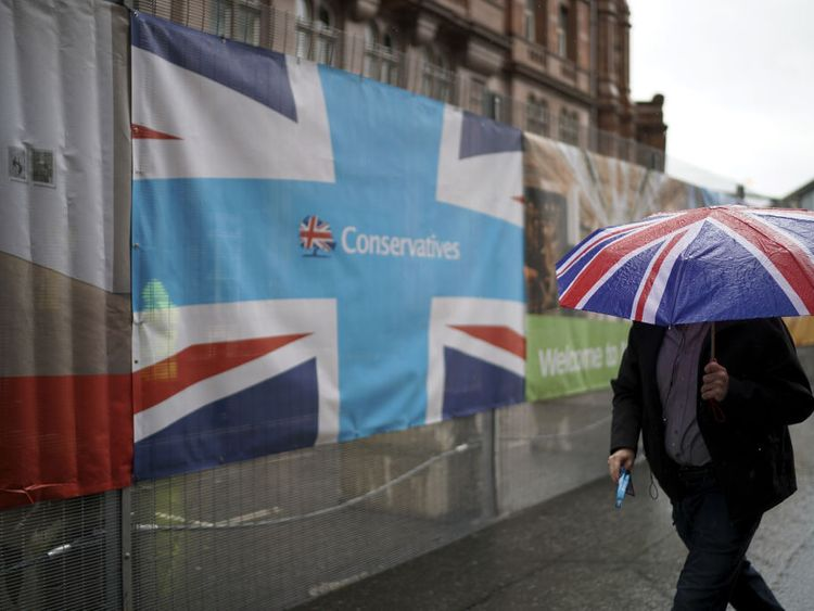 It was a rainy day in Manchester as delegates arrived for the Tory conference