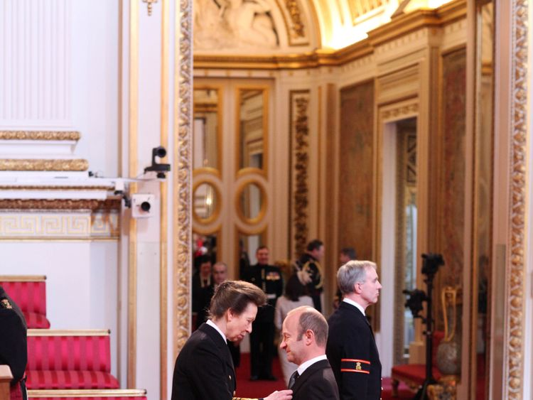 Mr. Henry Bolton from Folkestone is made an OBE by the Princess Royal at Buckingham Palace. PRESS ASSOCIATION Photo. Picture date: Tuesday March 12, 2013. See PA story Royal Investitures. Photo credit should read: Lewis Whyld/PA Wire