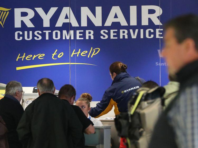 The Ryanair customer service desk at Dublin Airport