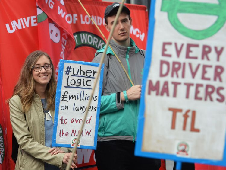 Protests took place as Uber appealed against a ruling over holiday pay